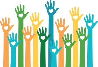 Hands up volunteering to help illustration
